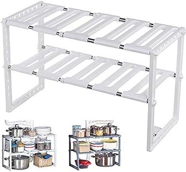 MKISHINE - Estantes de almacenamiento de cocina, bajo el fregadero, extensible, organizador para cocina, cuarto de baño, dormitorio, salón, longitud regulable, 50-70 cm