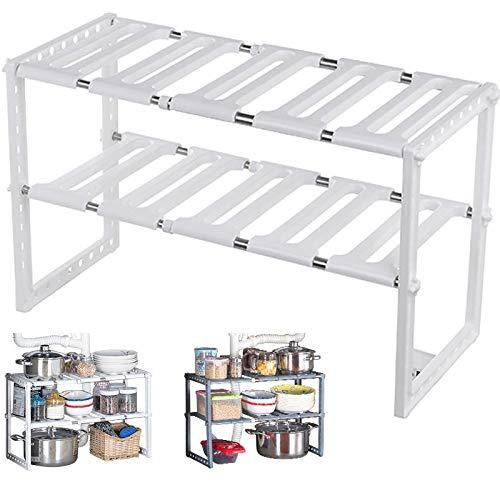 MKISHINE - Estantes de almacenamiento de cocina, bajo el fregadero, extensible, organizador para cocina, cuarto de baño, dormitorio, salón, longitud ajustable 38 – 70 cm