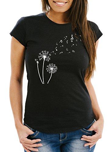 Neverless Damen T-Shirt Pusteblume Musiknoten Noten Musik Dandelion Slim Fit tailliert Baumwolle schwarz L