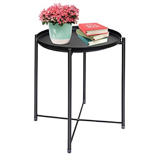 Mesa auxiliar redonda, mesa auxiliar de jardín, mesa auxiliar con bandeja extraíble, mesa para plantas, mesa de centro redonda, mesa de metal para el sofá, mesa de salón, mesa de café