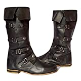 AnNafi Medieval Leather Boots 4 Buckle | Renaissance Inspired Loafer Boot | Halloween Caribbean Pirate Costume Boots | Re-Enactment Viking Mens Shoes| SCA LARP Riding Costume Boot for Cosplay | Long Boots (numeric_11)