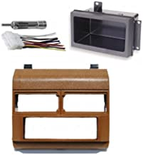 Custom Install Parts Brown Complete Single Din Dash Kit + Pocket Kit + Wire Harness + Antenna Adapter Compatible with Select 1988-1996 GMC Chevrolet