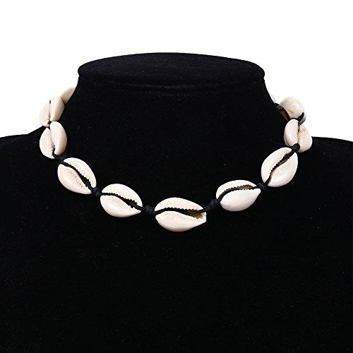VIMOER Collar Hecho a Mano Natural de la Concha / Mujeres Verano Playa Concha Collar / Estilo Nacional Corto Colgante Gargantilla joyería