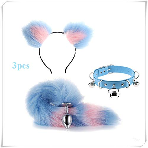 ieyol summer new fashion dress up cat ears headband+bell choker+tail costume accessories set(blue&pink2)