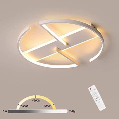 Zeyujie Luz de techo de aluminio creativo, luz de techo redonda LED blanca, luz de techo regulable de 42W con control remoto, luz de estar, luz de dormitorio, luz de oficina, Ø45cm [Energía de nivel A