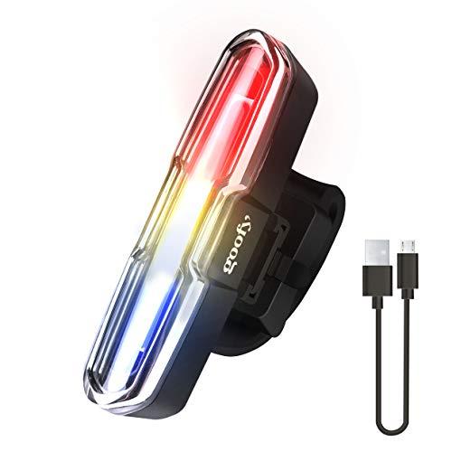 KIBTOY Lampe de vélo Rechargeable par USB avec 6 Modes d'éclairage, feu arrière arrière LED étanche et Lumineux, Phare de vélo Rouge + Bleu + Blanc avec Fonction de mémoire