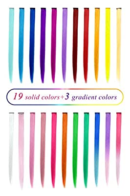 TOFAFA 22 inch Colored Hair Extensions, Multi-colors Party Highlights Clip in Synthetic Hair Extensions