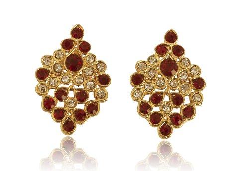 Touchstone de la aleación Contemporary Indian Blanco Rhinestone Faux amatista diseñador de joyas pendientes de oro de tono para las mujeres
