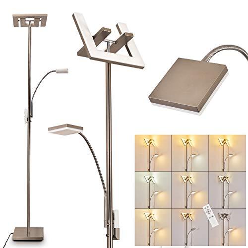 LED Stehlampe Laferie aus Metall in Nickel-matt, dimmbare Stehleuchte mit Lesearm, 25 Watt (insgesamt), 1440 Lumen (insgesamt), Lichtfarbe 2700-5000 Kelvin, verstellbare Bodenlampe m. Fernbedienung