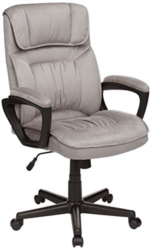 AmazonBasics Classic Office Desk Computer Chair - Adjustable, Swiveling, Ultra-Soft Microfiber - Light Gray, Lumbar Support, BIFMA Certified chair gaming gray