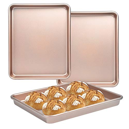 Bakeware Set of 2, Akamino Carbon Steel Deep Baking Pans Cookie Sheet Nonstick Baking Trays Set for Oven, Rectangle Size 16 x 12 x 1 inch, Gold