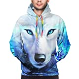 YI-POP Stylemall Teens Mens Realistic 3D Print Hooded Sweatshirts, Athletic Cool Big & Tall Hoodies with Big Pockets, Cute Galaxy Cool White Wolf Blue Light Ice Rose Flower Outerwear for School Party