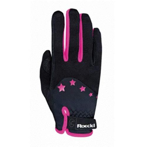 Roeckl Sports Teenies Handschuh Toronto, Reithandschuh Jugendliche, Schwarz/Orange, 6,5