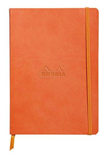 Cuaderno flexible RHODIARAMA Papel de 90g/m2, Encuadernación cosida, Cubierta de simil-piel Italiana, Cierre con goma, Marca página y Bolsillo Tipo de Interior: D.O.T.S Color: Naranja oscuro Tamaño: A5/148 x 210 mm - Número de páginas: 160