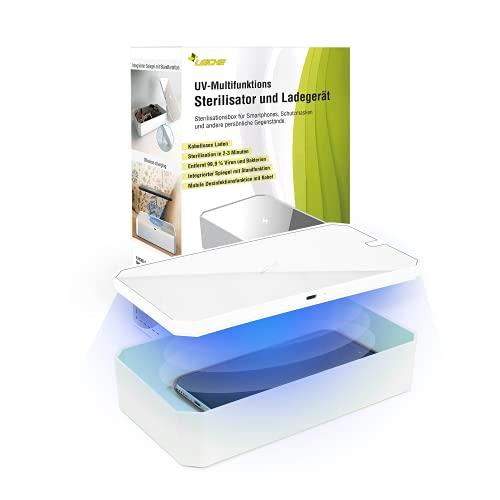 LEICKE UV Handy sterilisatorlåda   UV-desinfektionsbox med trådlös laddare, bärbart UV-smartphone-desinfektionsmedel   Perfekt för masker, handskar, glasögon, nycklar, smycken etc.