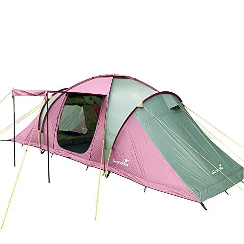 Skandika Silverstone 6 XXL - Tienda de campaña Familiar - Suelo Cosido - 3 cabinas - mosquiteras (Rosa/Verde)