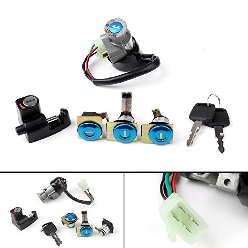 Topteng Motorcycle Ignition Switch with Key, Ignition Switch Fuel Gas Cap Cover Key Lock Set Fit for Honda CN250 Helix 1986-2007 35010-KS4-711