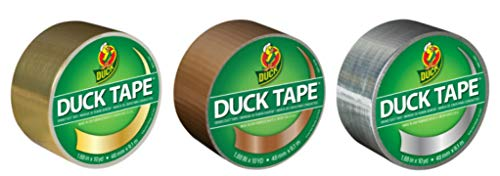 Duck Brand Color Duct Tape Metallic Combo 3-Pack, Gold, Bronze and Chrome, 1.88 Inches x 10 Yards Each Roll, 30 Yards Total