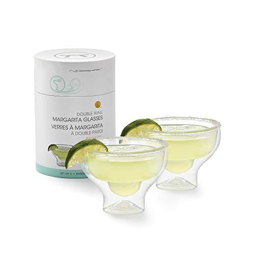 Outset Stemless Margarita Glasses Double Wall, Borosilicate Glassware