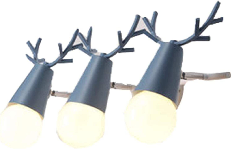 WYRX Wandleuchten LED Spiegel Lichter Scheinwerfer Moderne Minimalistische Kreative Geweih Wandleuchte Persnlichkeit Badezimmer Badezimmerspiegel Schrank Dressing Lampe BLAU