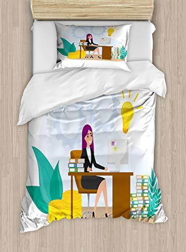 ABAKUHAUS Girl Boss Dekbedovertrekset, Vrouw zit aan de balie, Decoratieve 2-delige Bedset met 1 siersloop, 130 cm x 200 cm, Veelkleurig
