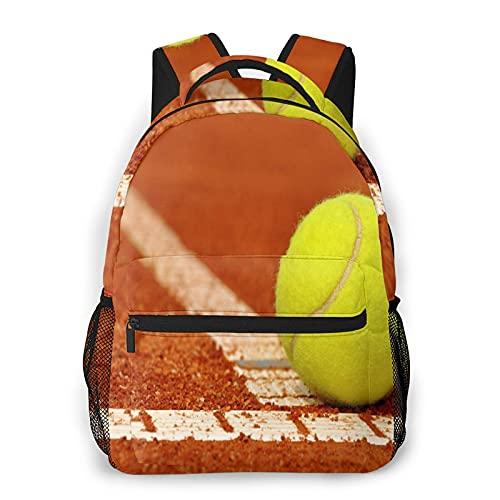 MEJX Zaino Pacchetto di Archiviazione,Pallina da tennis su un campo da tennis in terra battuta,Casuale Borsa Degli Studenti della Scuola Zaino da Viaggio per Laptop