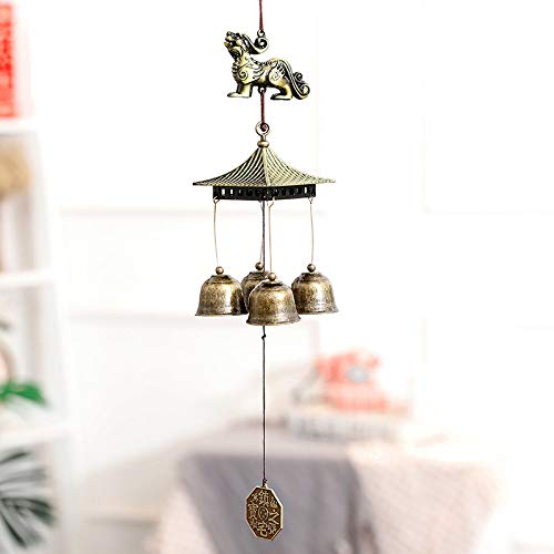 YL-adorn Art windspel metaal tuin en indoor grote wind chime met natuurlijke ontspannende tinten moedig en vier klokken Japanse in klassieke stijl ideaal voor decoratieve geschenken