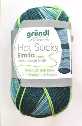 Gründl NEU! 4-fädige Sockenwolle mit dem grünen Faden, Simila, 2 identische Socken aus einem Knäuel, 100 gr. 75% Schurwolle / 25% Polyamid, (406 NEU)