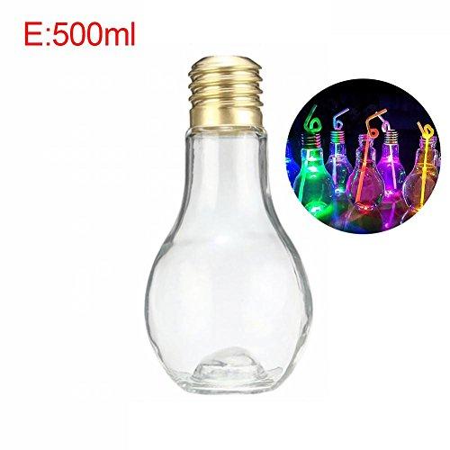 agshop Kreative Birne Flasche Innovative Glühbirne Trinken Saftflaschen Nette Entsafter Milch Sommer Wasserflasche (zufällige Lichtfarbe Lieferung)
