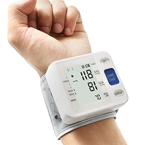 Blood Pressure Monitor - Wrist Accurate Automatic High Blood Pressure Monitors Portable LCD Screen Irregular Heartbeat Monitor with Storage Case and Adjustable Cuff Powered by Battery - White
