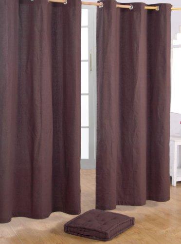 Homescapes 2er Set eifarbige Ösen Gardinen je B137 x L182 cm aus 100% Baumwolle, blickdichte Vorhänge/Dekoschals/Ösenvorhänge für Wohnzimmer oder Küche, braun