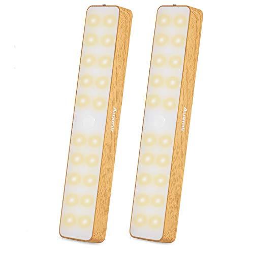 Auxmir Luz Armario LED Sensor Recargable USB, Luces Armario con Sensor de Movimiento, 20 LED Interior Armario con Tiras Magnéticas, Lámpara Nocturna para Escalera Pasillo Baño Cocina, 2 Packs