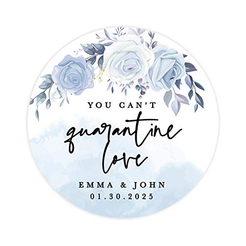 Andaz Press Wedding Personalized Round Circle Label Stickers, You Can't Love, ICY Blue Floral Design, Social Distancing Wedding Hand Sanitizer Mask Favor Label Stickers, 120-Pack