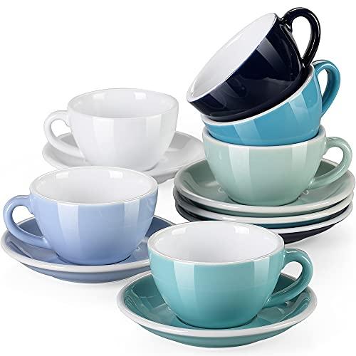 Cappuccinotassen Set porzellan, LOVECASA 12-teilige Kaffeetassen mit Untertassen für 6 Personen, Espressotassen Set