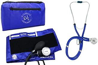EMI EBL-430 Royal Sprague Stethoscope and Large Adult Aneroid Sphygmomanometer Manual Blood Pressure Cuff Set