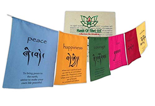 Hands Of Tibet Handmade Tibetan Affirmation Prayer Flags Happiness Courage Love Tranquility Wisdom. Each String has six vibrantly Colored Flags and Handmade with Love.