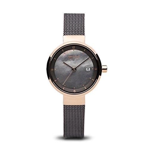 Bering Armbanduhr Damenuhr Solaruhr - Slimline - Analoge Uhr mit Datum, braunem Edelstahlarmband und braunem Zifferblatt - 50m/5atm - 14426-265