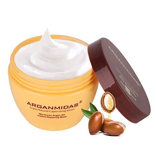 ARGANMIDAS Tratamiento capilar con aceite de argán para cuidados intensivos – para suavidad y brillo – Cuidado efectivo del cabello para cabello seco, estresado y dañado 10.5 oz
