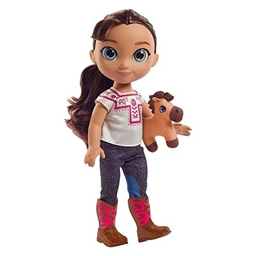 DreamWorks Spirit GXF93 - Spirit Lucky Kleinkind-Puppe (ca. 35cm) in einem Jeans-Outfit mit Stoffoberteil und Stiefeln, einer Spirit-Plüschfigur und einer Bürste, Geschenk für Kinder ab 3 Jahren