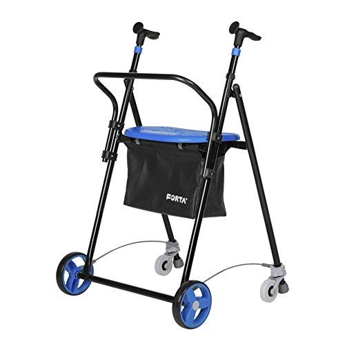Andador para ancianos | De hierro plegable | Con frenos traseros| Con cesta asiento y respaldo | Color azul