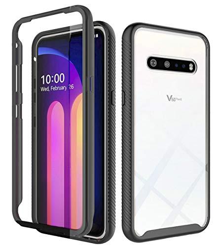 iRunzo - Carcasa híbrida resistente para LG V60 ThinQ / G9 ThinQ Cover 2 en 1 (poliuretano termoplástico), transparente + protector de pantalla