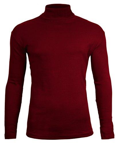 Camiseta de manga larga y cuello alto para hombre, de Brody & CoJersey de algodón para invierno, esquí, golf, de calidad. Rojo granate Large