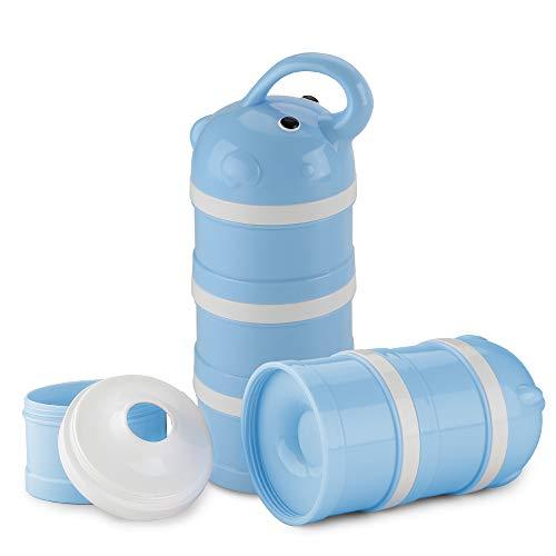 Luchild Milchpulver-Portionierer, Milch Pulver Spender, BPA-frei Säuglingsnahrung Kasten Tragbare Milchkasten 3-Schicht für Reise im Freien/Nachtzeit Krankenpflege (Elefant Blau)