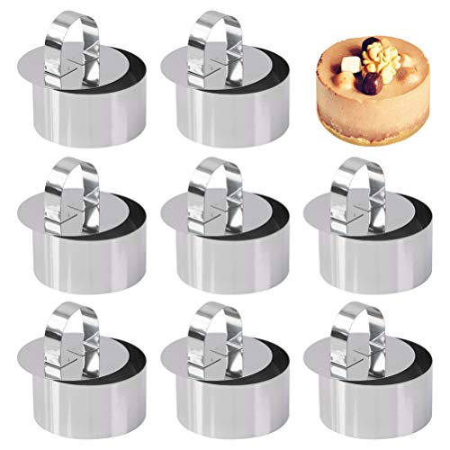 Set of 8 - Round Cake Ring Cake Molds, Stainless Steel Mousse and Pastry Mini Baking Ring Mold, Food Rings Cake Rings Dessert Rings Set Including 8 Rings & 8 Food Presses (3.15' x1.6')
