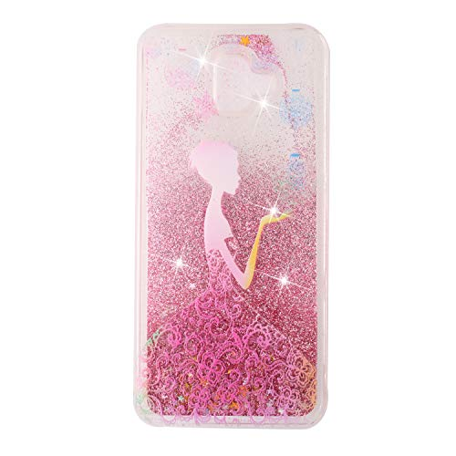 Everainy Coque Compatible pour Samsung Galaxy J6+/J6 Plus 2018 Silicone 3D Paillettes Glitter Transparent avec Motif Souple Bumper Liquide Etui Bling Antichoc Caoutchouc Cover (Fille)