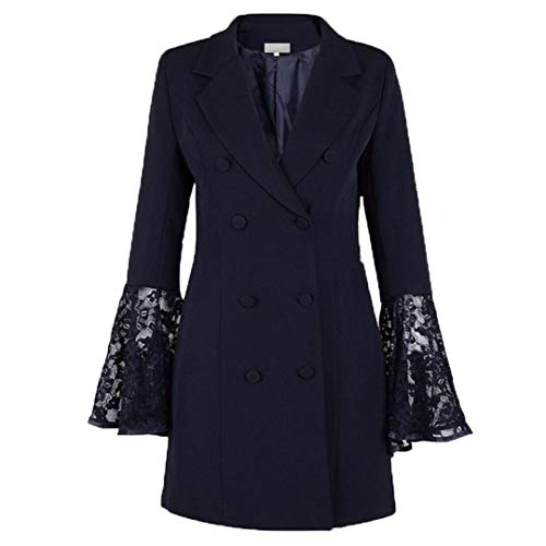 wkd-thvb Las señoras de encaje empalmado de la manga de la llamarada del vestido de las mujeres de doble botonadura chaqueta larga traje Slim Fit Business Coat