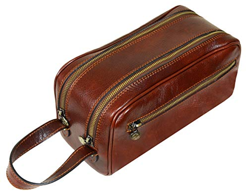 Leather Cosmetic Bag Toiletry Italian Classy Dopp Kit Brown - Time Resistance