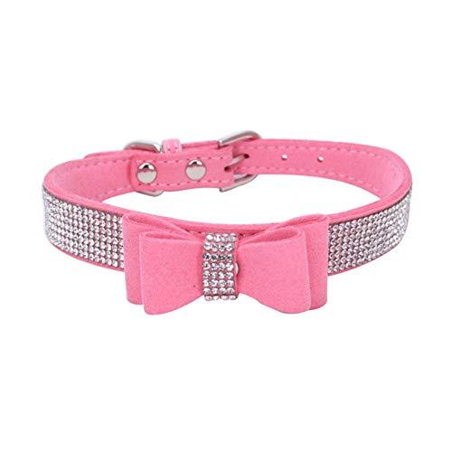 FZTWAN Collares para Perros,Moda Collares Mascota Bow Diamante Rosa,Transpirable Suave Collar Ajustable para Pequeñas/Medianas/Grandes Perros/Cat, Fácil Diseño Hebilla para Caminar/Formación,S