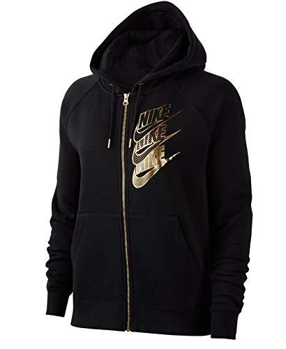 Nike Damen NSW Full Zip Bb Shine Hoodie Blazer, Schwarz (Black/Black/Metallic Gold), Medium