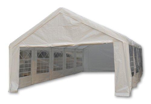 Nexos Hochwertiges Festzelt Partyzelt Pavillon 5x10 m weiß mit Seitenteilen für Garten Terrasse Feier Markt Plane wasserdicht PE Dach 180 g/m² Stahlrohre